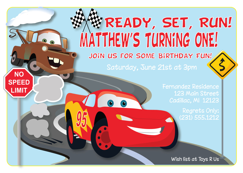 Disney Cars Invitation Lightning McQueen Birthday Party