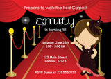 Red Carpet Girl Birthday Invitation (#KBI112) - StorkBabyGiftBaskets