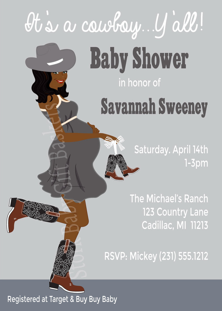 Country Western Baby Invitations (#SBGB302) - StorkBabyGiftBaskets - 3