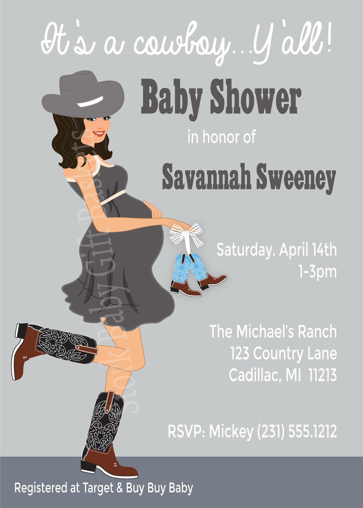 Country Western Baby Invitations (#SBGB302) - StorkBabyGiftBaskets - 6