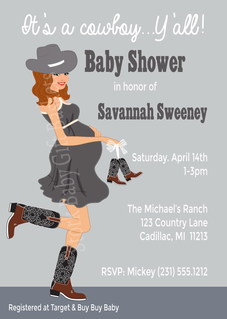 Country Western Baby Invitations (#SBGB302) - StorkBabyGiftBaskets - 1