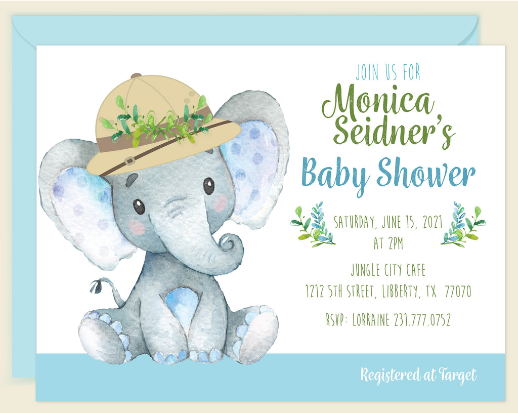Safari Jungle Boy Elephant Invitation