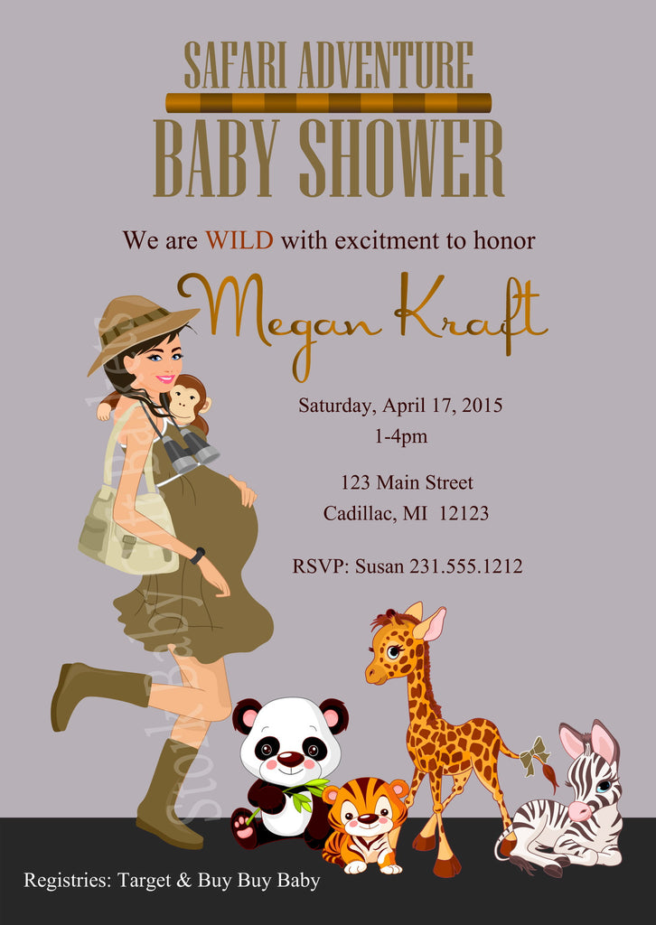 Safari Baby Shower Invitation (#SBGB99) - StorkBabyGiftBaskets