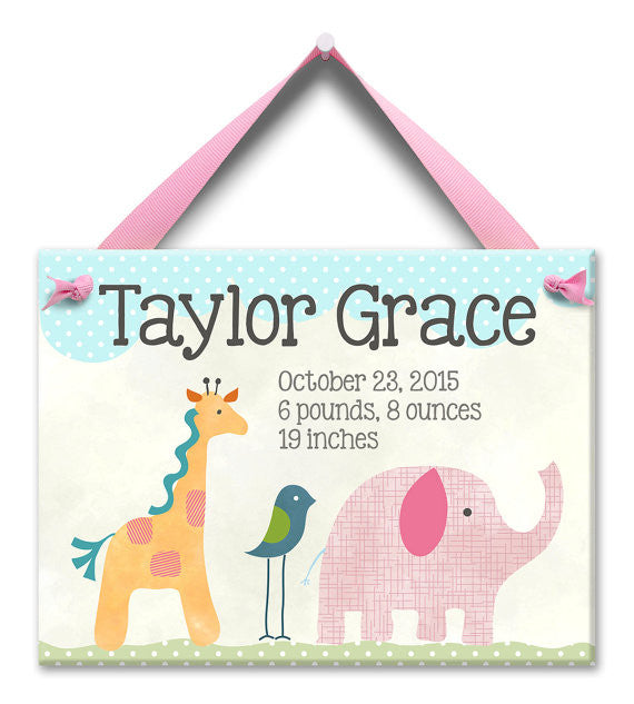 Safari Nursery Baby Girl Plaque (#LWC-002G) - Stork Baby Gift Baskets
