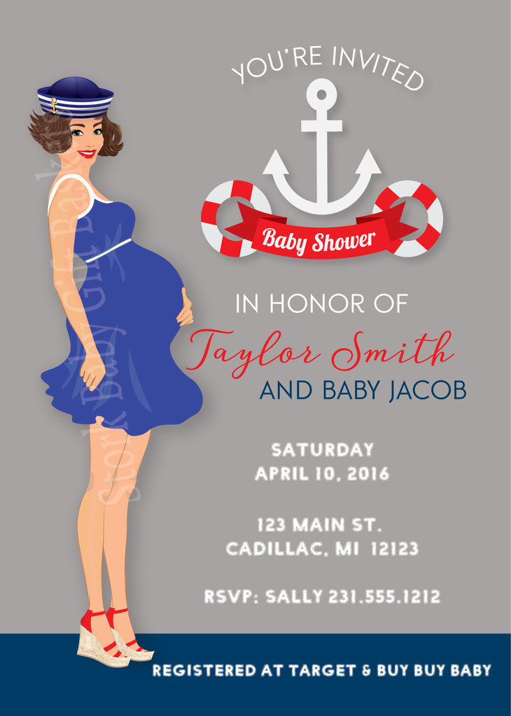 Nautical Sailor Boy Baby Shower Invitations (#SBGB316) - StorkBabyGiftBaskets