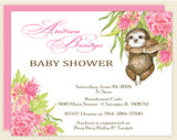 Sloth Floral Baby Shower Invitation