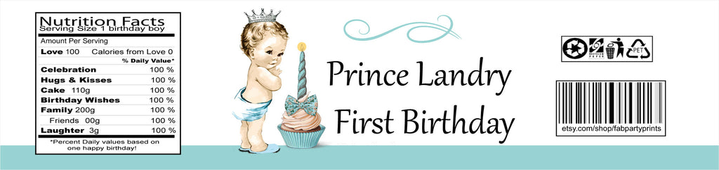 Prince First Birthday Water Bottle Label (#WBL111) - Stork Baby Gift Baskets - 2