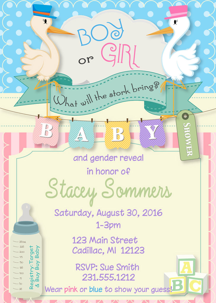 Stork Gender Reveal Baby Shower Invitations - StorkBabyGiftBaskets