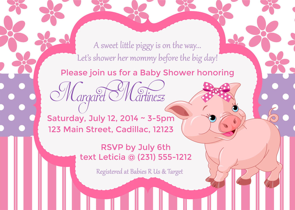 Piggy baby shower invitation stork baby gift baskets little pink piggy girl baby shower invitations sbgb44 storkbabygiftbaskets filmwisefo