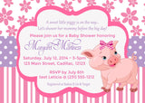 Little Pink Piggy Girl Baby Shower Invitations (#SBGB44) - StorkBabyGiftBaskets