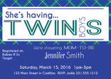 Twin Boys Plaid Baby Shower Invitation (#SBGB320) - StorkBabyGiftBaskets