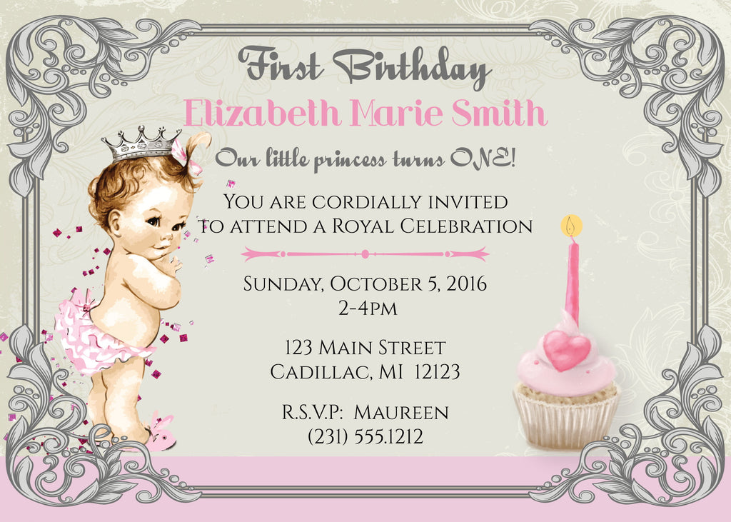 Vintage Princess 1st Birthday Invitation Storkbabygiftbaskets Com