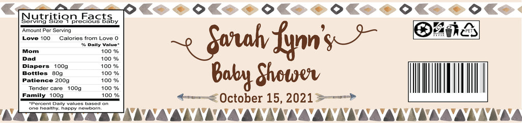 Welcome To Our Tribe Baby Shower Water Bottle Labels