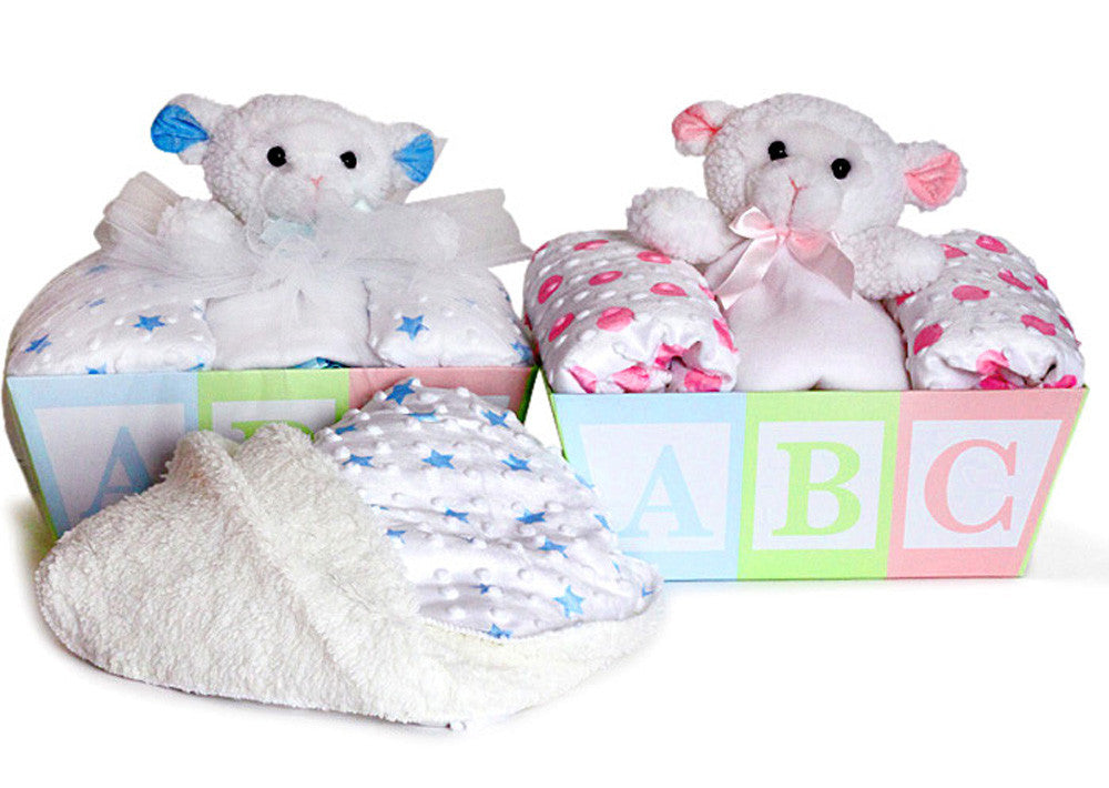 BABY BLANKET & LAMB LOVEY Baskets (#BGC318) - Stork Baby Gift Baskets - 1