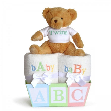 BABY A & B BASKET FOR TWINS (#BGC320) - Stork Baby Gift Baskets