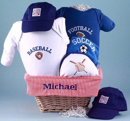 All American Sports Gift Basket (#BGC132) - Stork Baby Gift Baskets
