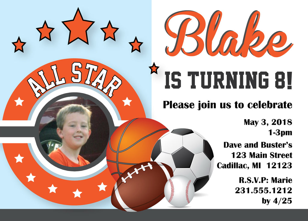 158d2fe746868 All Star Birthday Photo Invitation - Kids Birthday Invitations ...