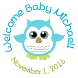 Baby Owl - Personalized Baby Shower Party Sticker Labels
