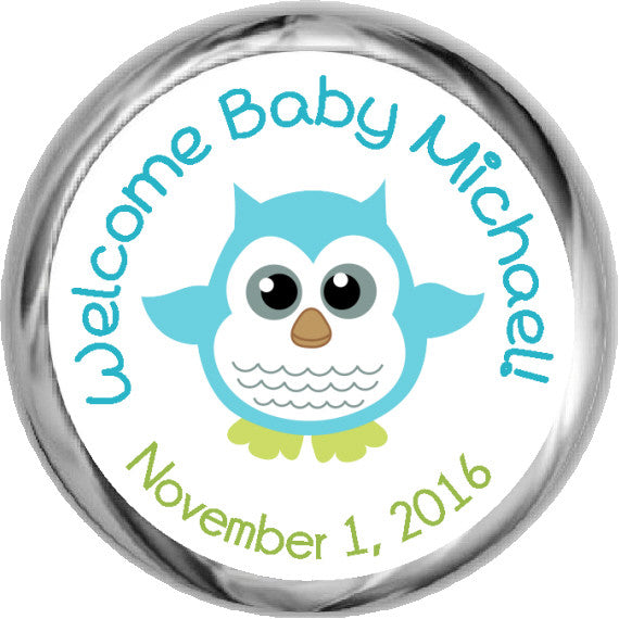 Baby Boy Owl Stickers - KISSES Candy Baby Shower (#HKS12) - StorkBabyGiftBaskets - 1