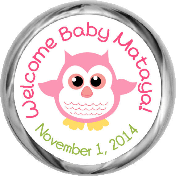 Baby Girl Owl Stickers - KISSES Candy Baby Shower (#HKS13) - StorkBabyGiftBaskets - 1