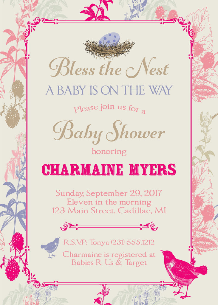 Bless The Nest Baby Shower Invite