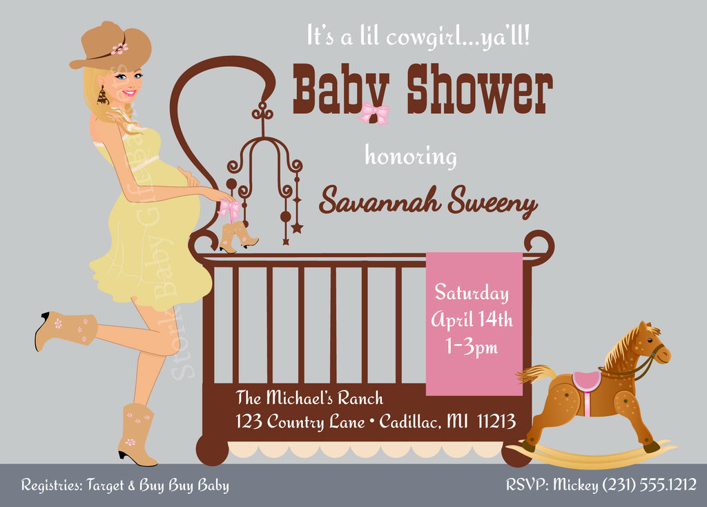 Cowgirl Baby Invitations - Blonde Cowgirl