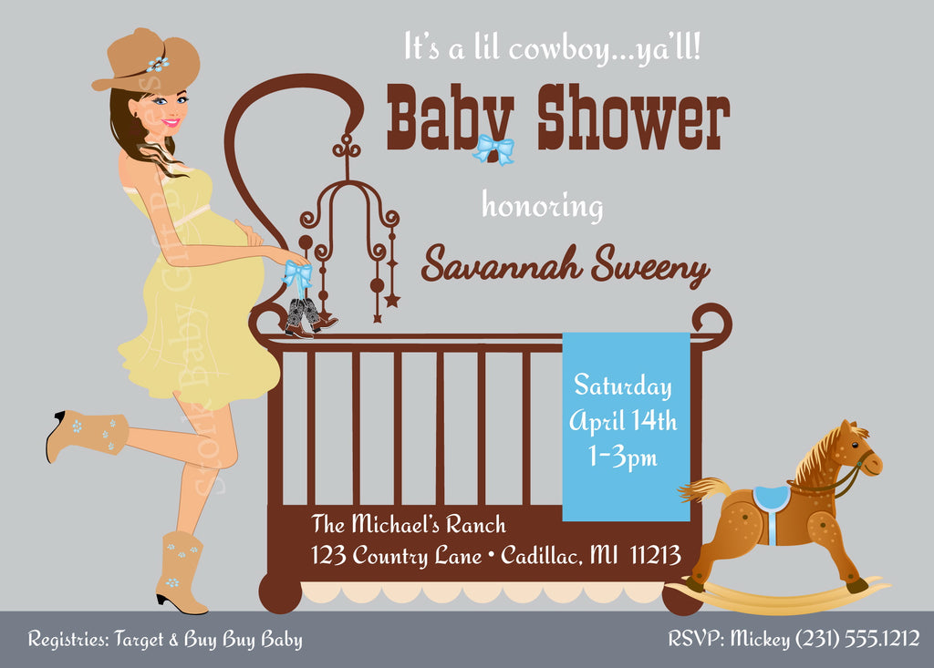 Cowboy Baby Invitations - Brown Hair