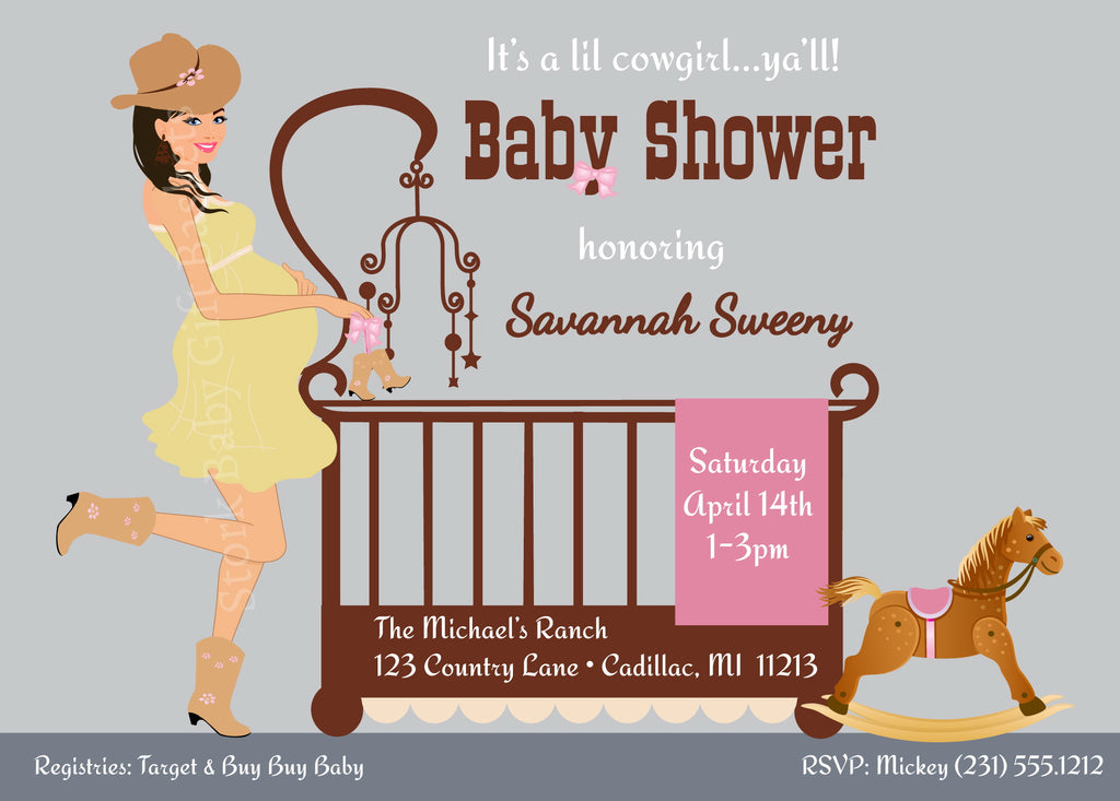 Cowgirl Baby Invitations - Black Hair