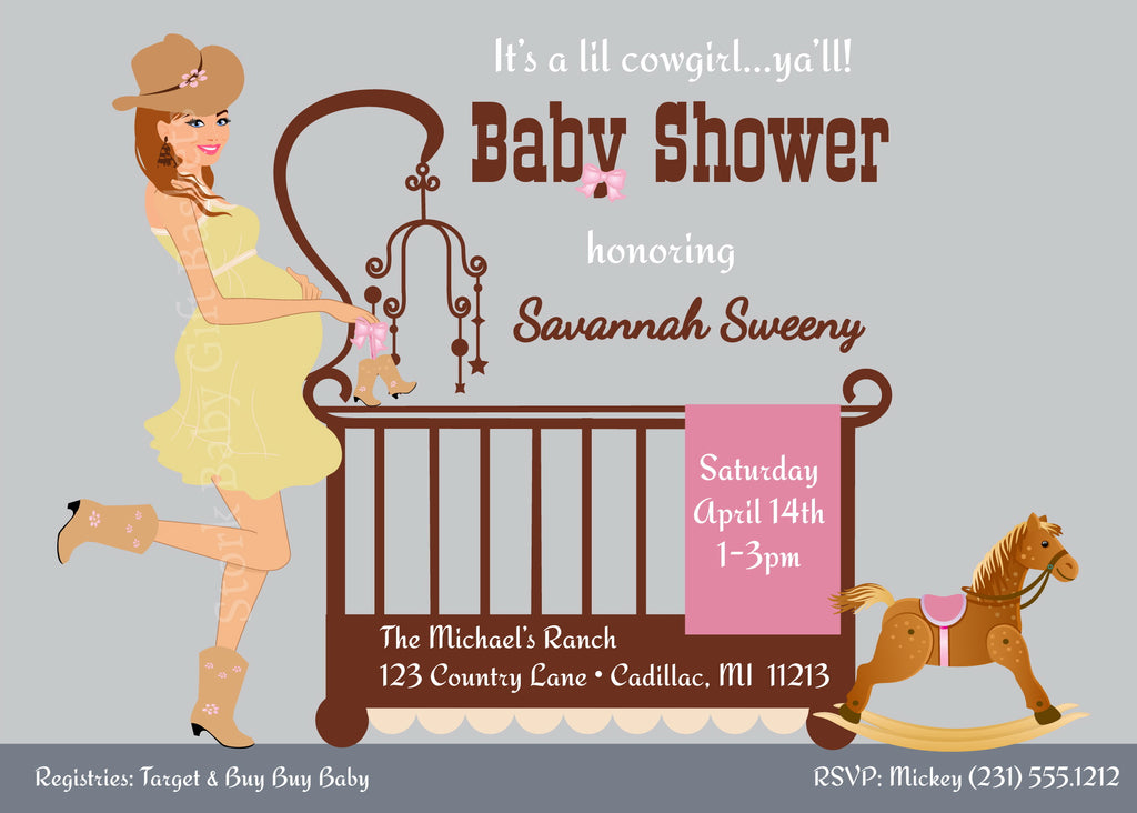 Cowgirl Baby Shower Invitations-Stork Baby Gift Baskets ...