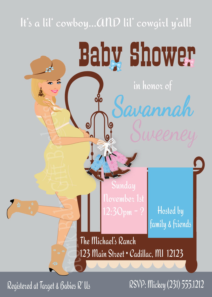 Cowgirl and Cowboy Twin Babies Baby Shower Invitations ...