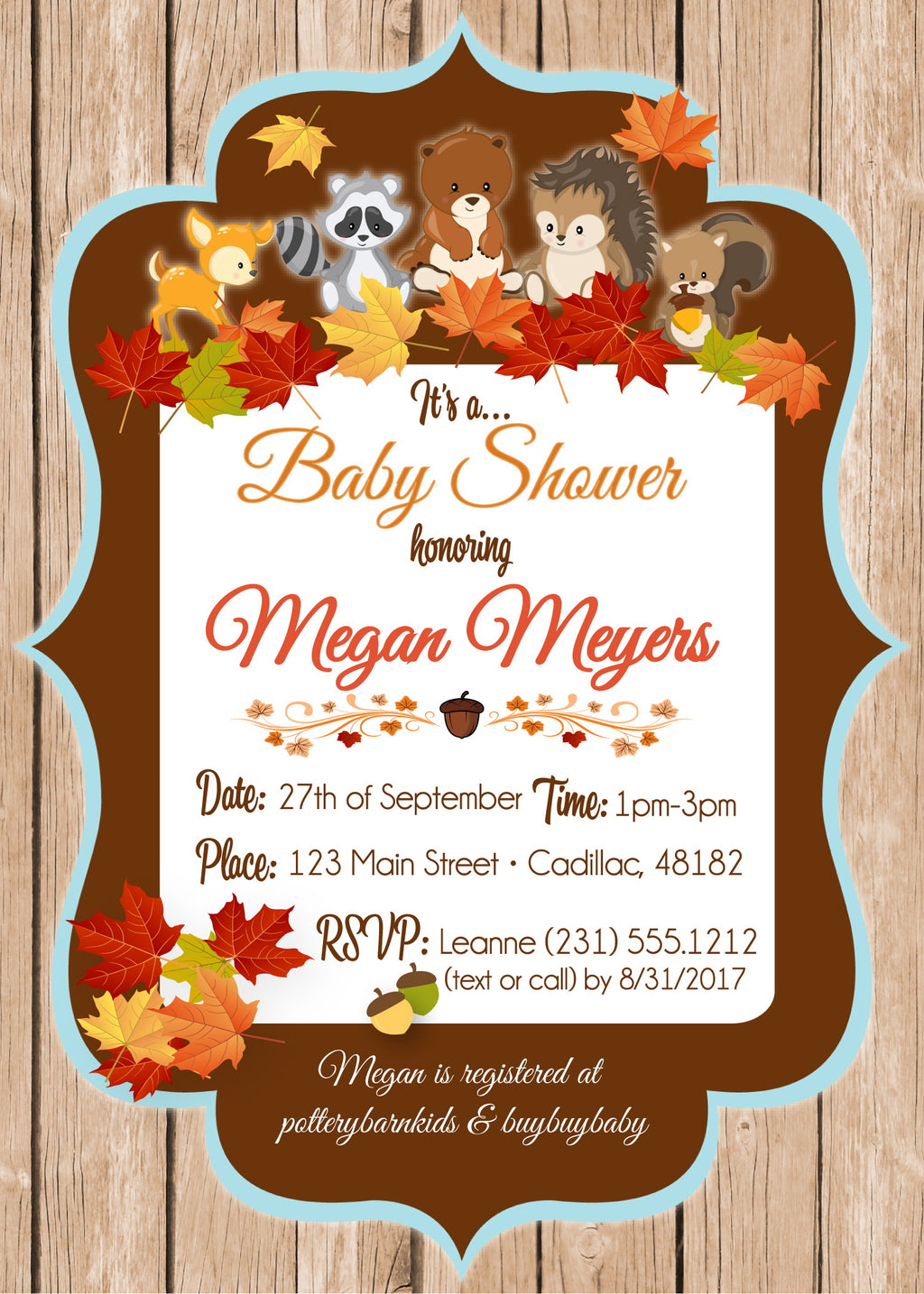 Baby shower invitations stork baby gift baskets woodland friends fall invite filmwisefo Gallery