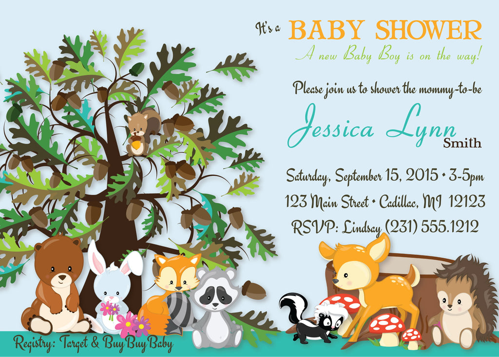 Forest Friends Baby Shower Invitations