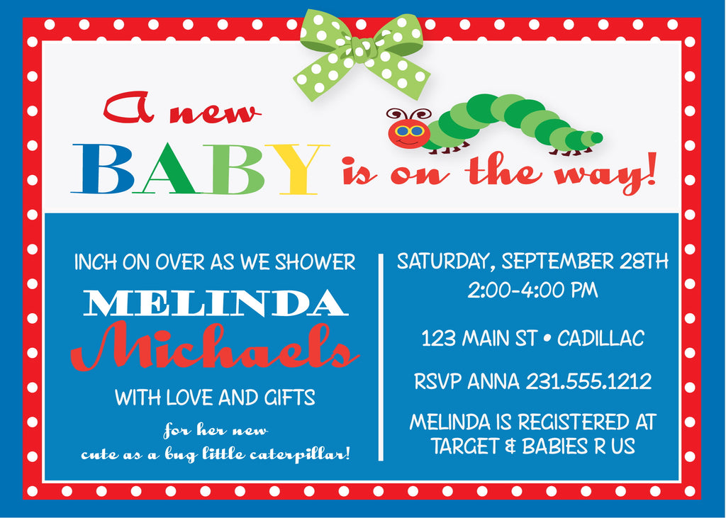 Caterpillar Baby Shower Invite