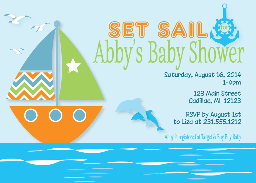 Set Sail Baby Shower Invitations
