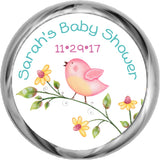 Pink Birdie - Kisses Candy Baby Shower Sticker