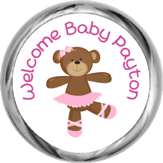 Ballerina Bear Stickers - Personalized KISSES Candy (#HKS40) - StorkBabyGiftBaskets - 1