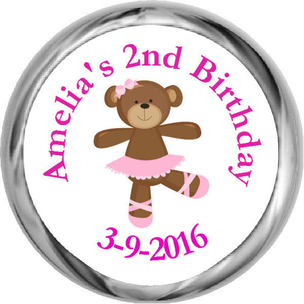 Ballerina Bear Stickers - Hershey Kisses Birthday (#HKS317) - StorkBabyGiftBaskets