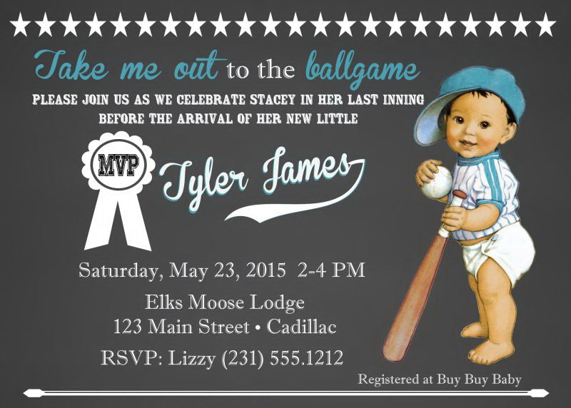 Baseball Chalkboard Boy Baby Shower Invitations