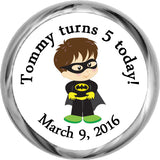 Batman Boy Sticker - Personalized HERSHEY KISS FAVOR (#HKS330) - StorkBabyGiftBaskets