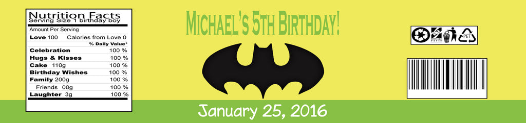 Batman Boy Water Bottle Labels (#B-WBL104) - StorkBabyGiftBaskets