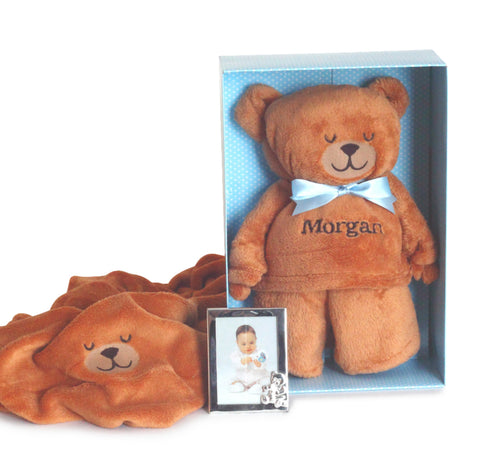 Plush Puppy & Blanket Gift Set - Blue (#BBC-PB)