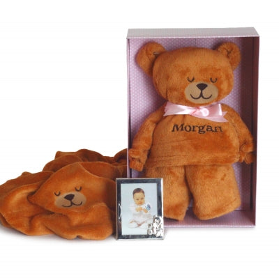 BEARY IRRESISTIBLE PERSONALIZED BABY BLANKET GIFT SET-GIRL