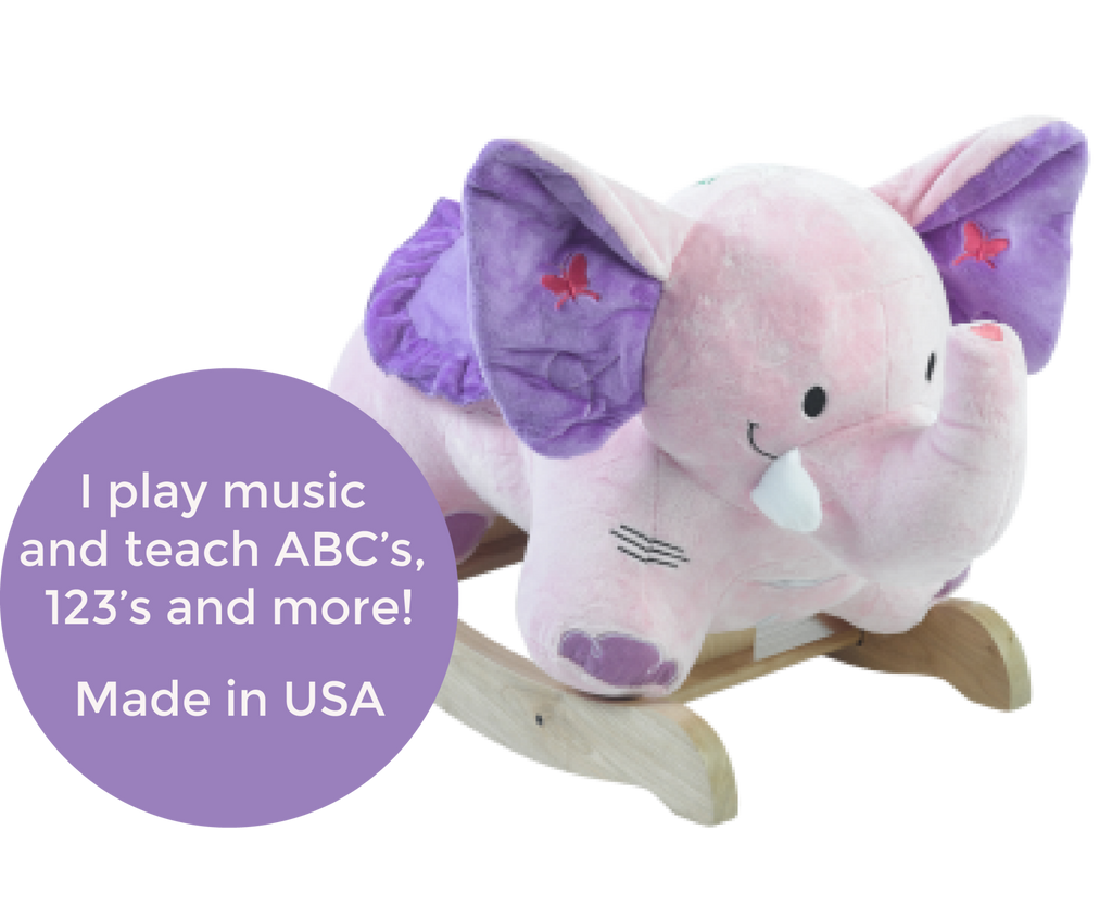 Bella Elephant Musical Rocker for Baby Girl (#RB4) - StorkBabyGiftBaskets - 2