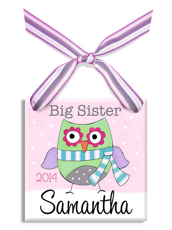Big Sis Owl Wall Tile Ornament (#LWC-263) - Stork Baby Gift Baskets - 2