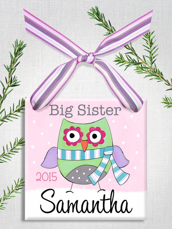 Big Sis Owl Wall Tile Ornament (#LWC-263) - Stork Baby Gift Baskets - 1