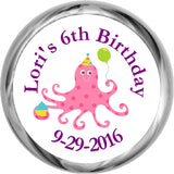 Birthday Octopus - Girl's Personalized HERSHEY'S Stickers (#HKS325) - StorkBabyGiftBaskets