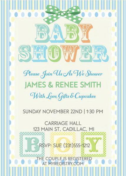 Blocks Baby Shower Invitation- Boy