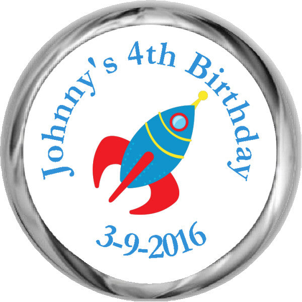 Blue Rocket Stickers - Personalized HERSHEY KISSES Candy (#HKS315) - StorkBabyGiftBaskets