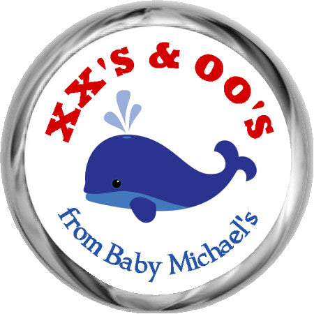 Whale Stickers - Hershey's Kisses Baby Shower (#HKS10) - StorkBabyGiftBaskets - 1