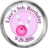 Bowling Party - Girl's Personalized HERSHEY KISS FAVOR (#HKS324) - StorkBabyGiftBaskets